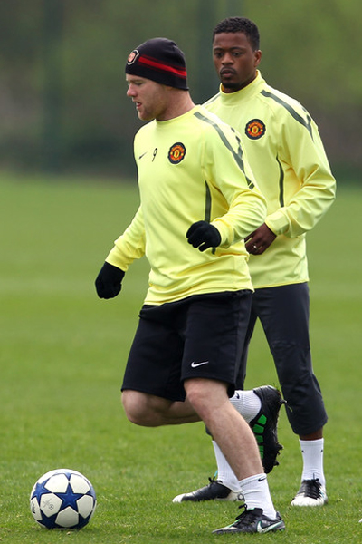 Patrice Evra and Wayne Rooney in Trainning