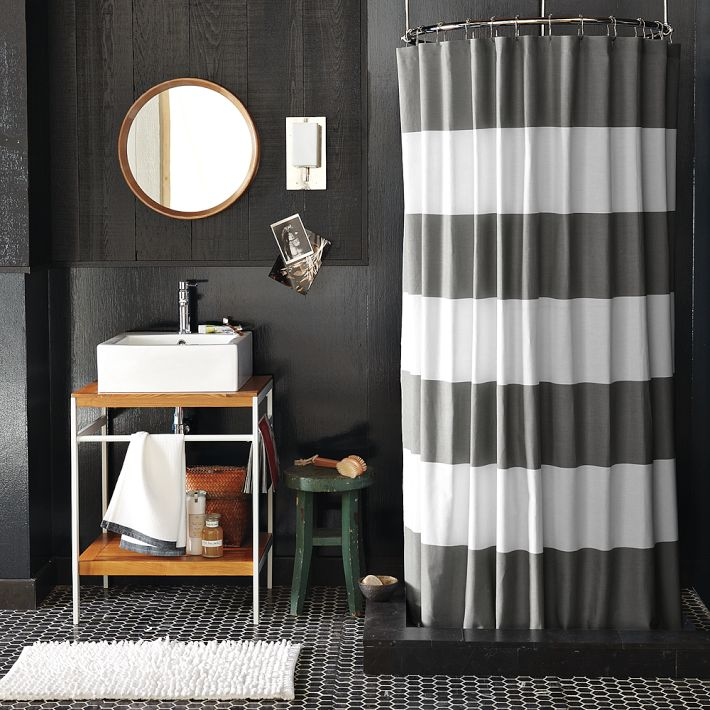 Bathroom Curtain Ideas Pictures : Bright smile west elm stripe shower curtain