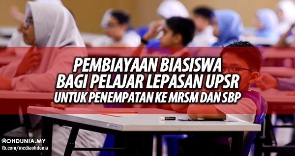 Biasiswa Lepasan UPSR 2015 bagi penempatan pelajar ke MRSM & SBP