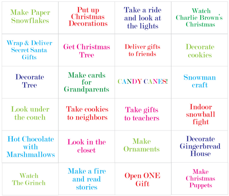 Printable Advent Activities For Children | Calendar Template 2016