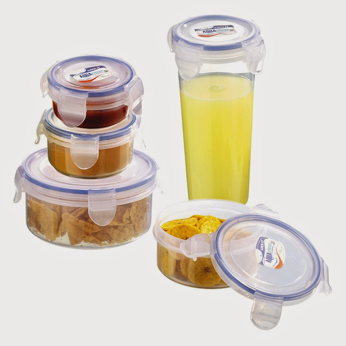 Buy Lock It Aqua Clear Multipurpose Air Tight Leak Proof Round Containers Set of Five Pcs Rs. 299 only at Amazon.