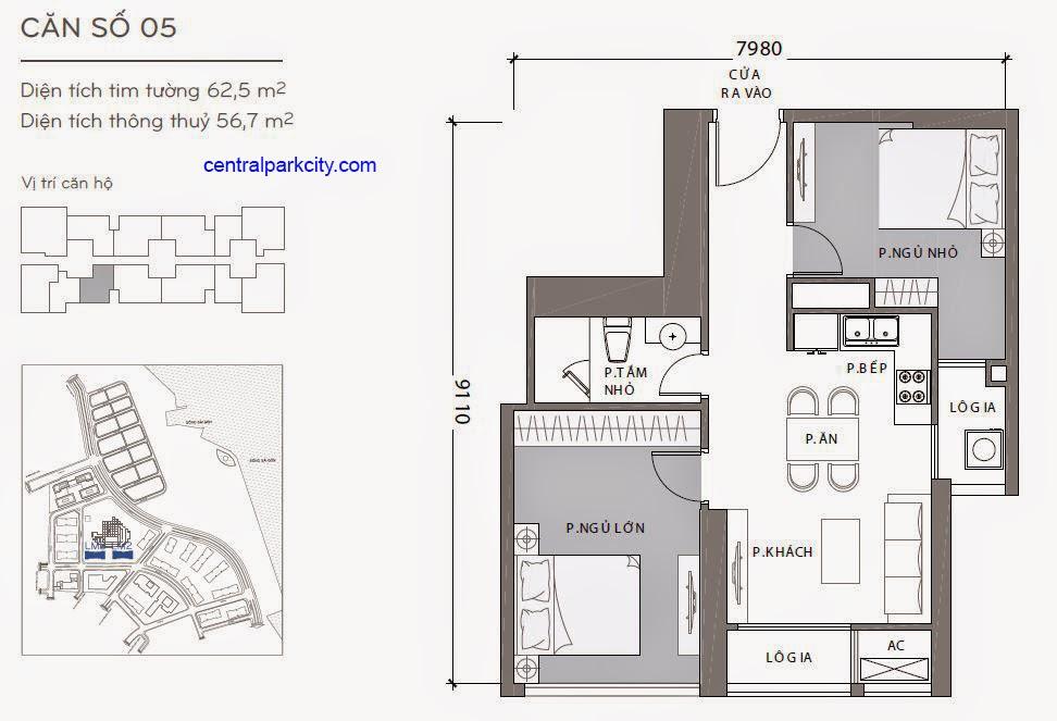 Căn hộ Landmark 2 & 3 - kiểu nhà số 05 - 62.5m2 - 2PN