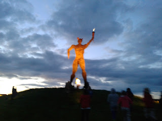 The Wickerman lit up