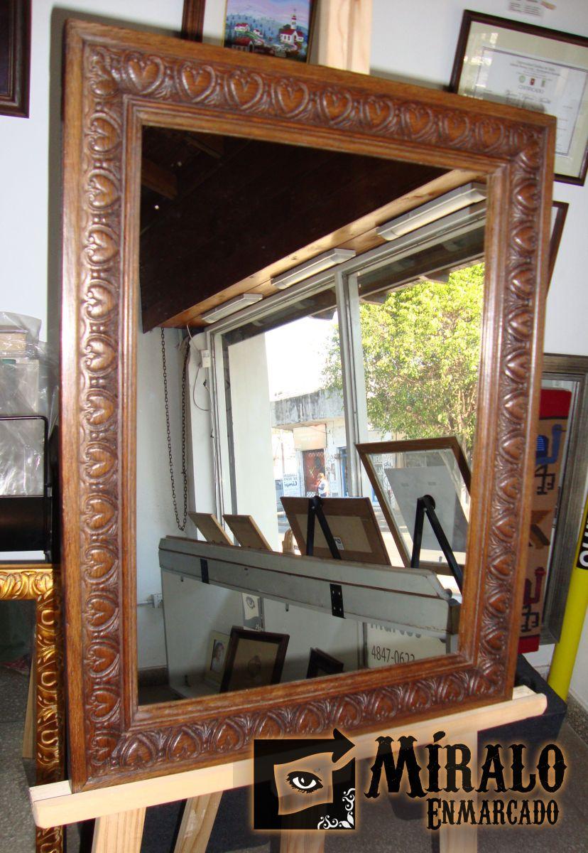 Restauración y adaptación a espejo de marco antiguo de roble