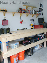 Wood Garage Work Bench and Shelves