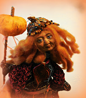Pumpkin Queen Folk Art Doll by Jeanne Fry