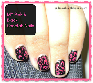 DIY Pink & Black Cheetah Nails