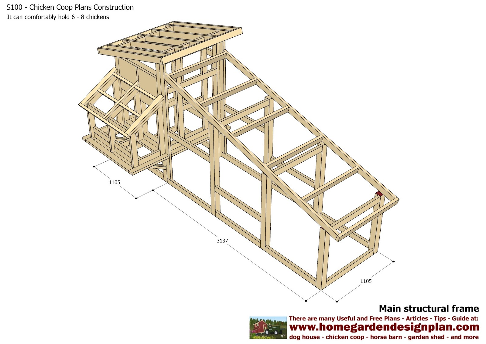 Home garden plans s100 chicken coop plans construction for A frame chicken coup