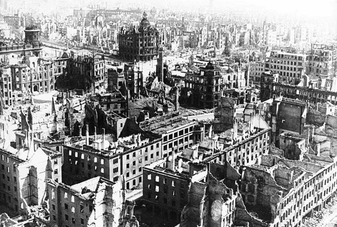 At the end of the war, Dresden was so badly damaged that the city was basically leveled.