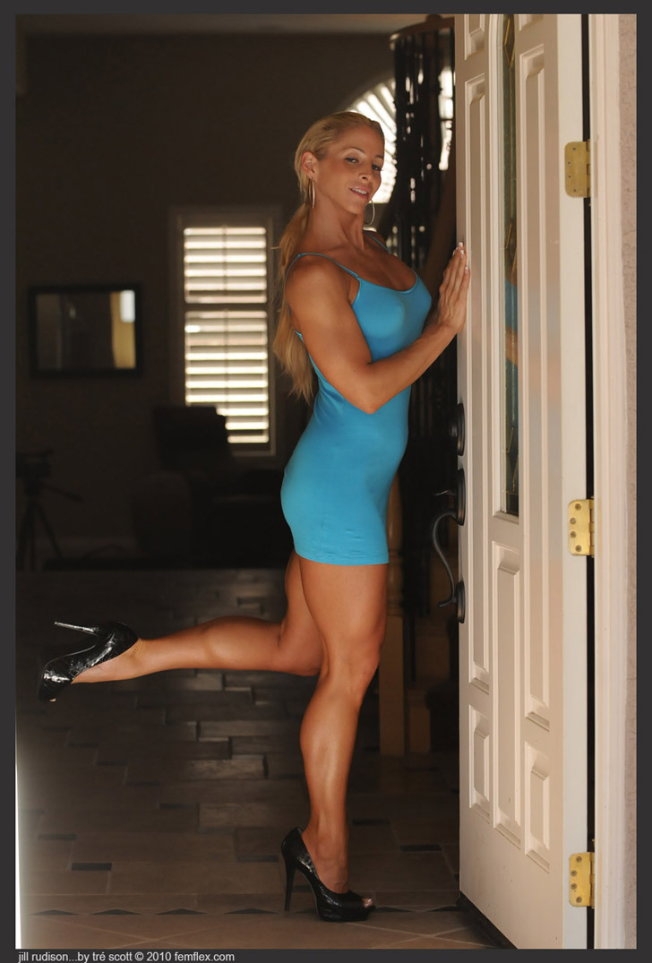 Jill Rudison Models Her Muscular Calves In A Blue Dress