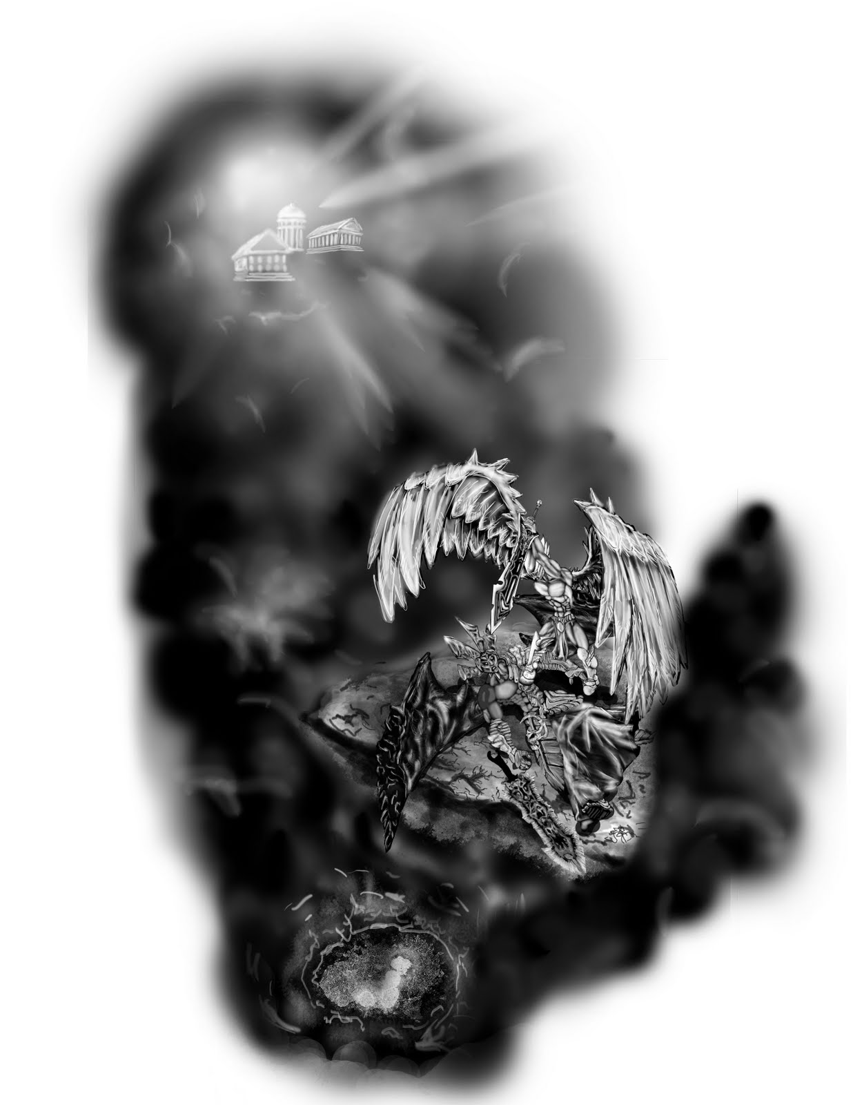 Tattoo Donkey Angel Devil Tattoo Design