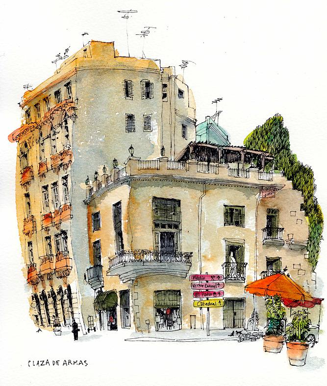 02-Cuba-Havana-Chris-Lee-Charming-Architectural-wobbly-Drawings-and-Paintings-www-designstack-co