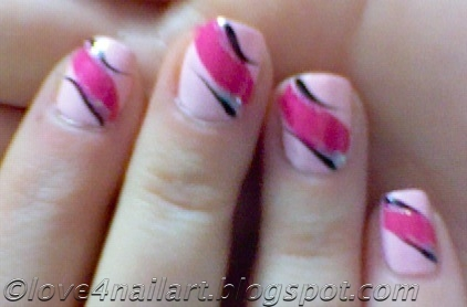 love4nailart easy pink nail art design 4 short nails