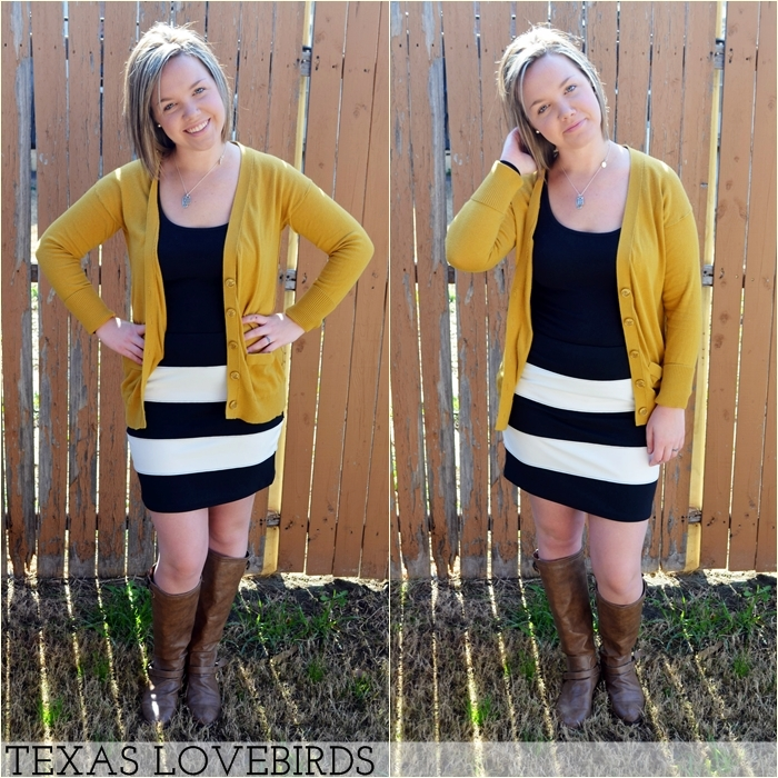 Black and White Stripes + Mustard Yellow
