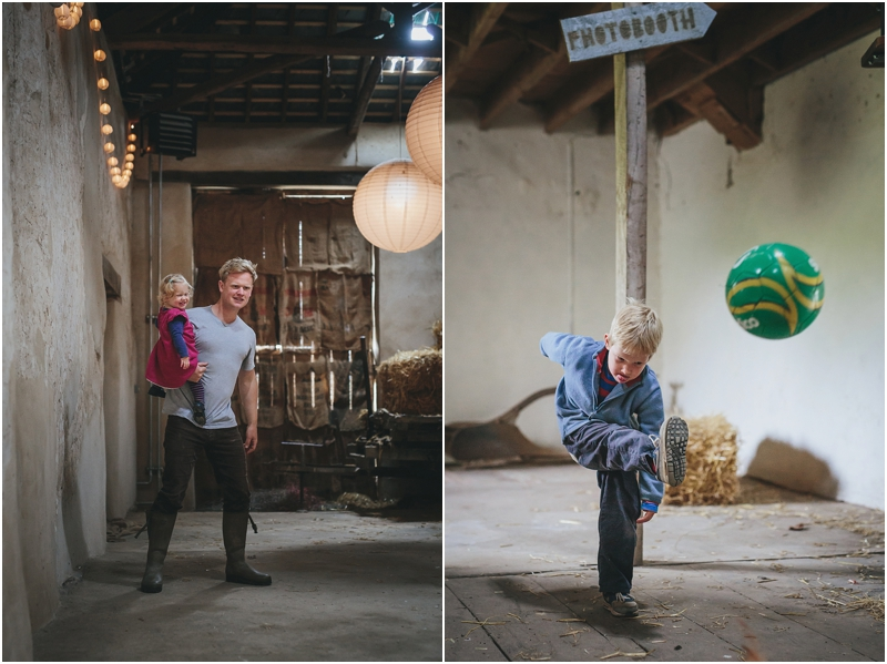 Children playing in a converted barn