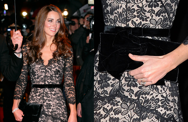 Kate Middleton in black lace gown