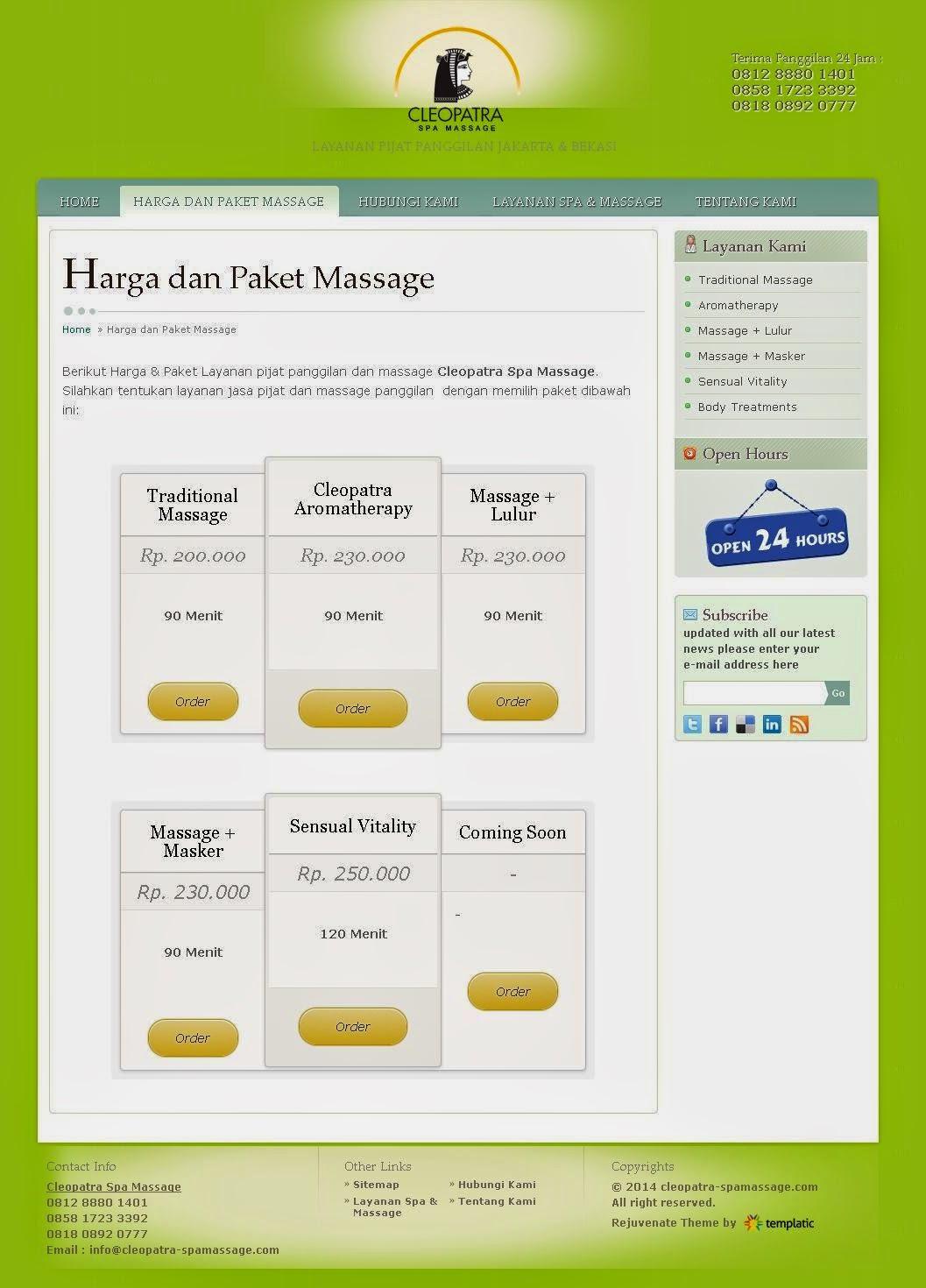 jasa pembuatan Website Jasa Pijat Panggilan Spamassage