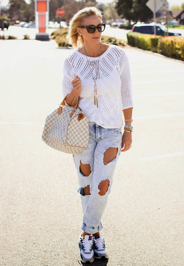 Crochet sweater with relaxed denim