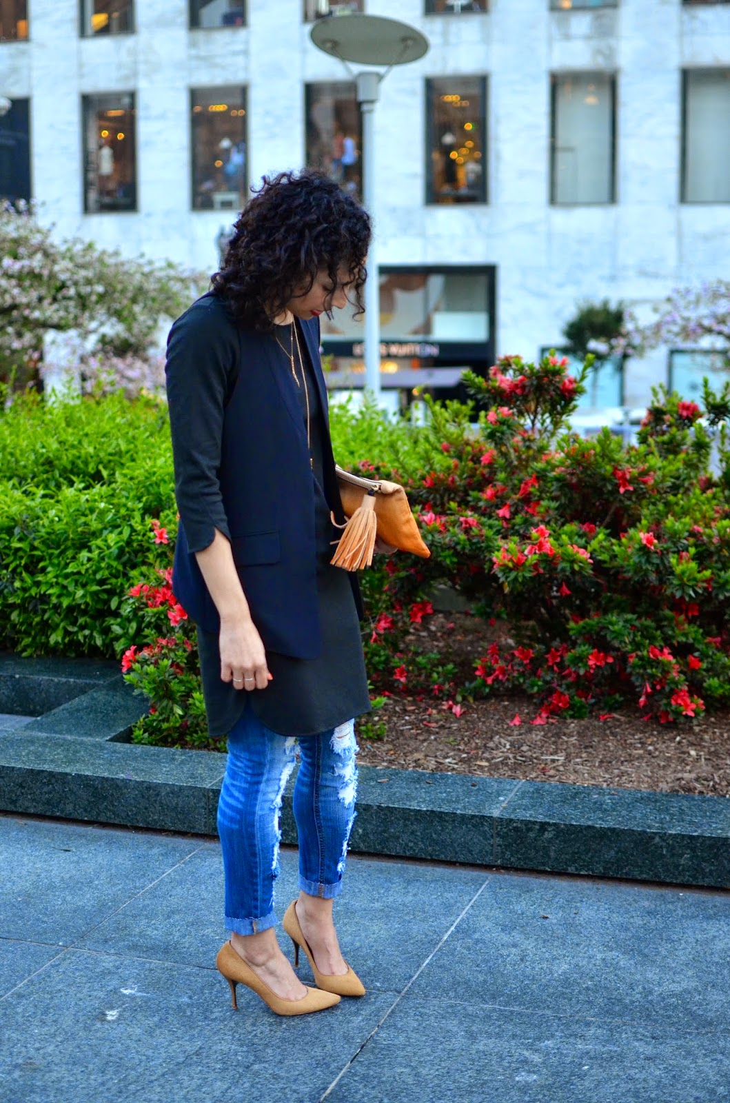 distressed denim, dress over pants, layered necklaces, AYK clutch, red lips, short curly hair