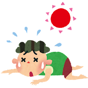 夏バテのイラスト「倒れる男の子」