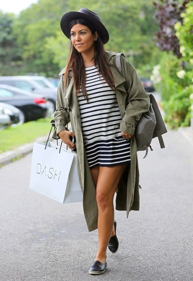 stripe dress, chanel espadrilles, green jacket, hat polka dot skirt leather jacket Kourtney Kardashian street style