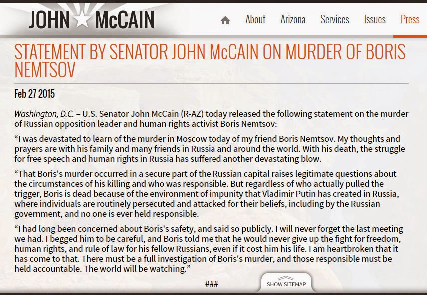 A screenshot of Senator McCain's statement of Nemtsov's death.