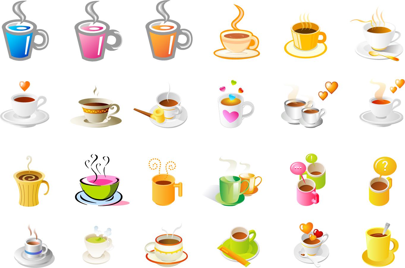 湯気が立ち昇る珈琲カップのアイコン steaming coffee cup set of vector icons イラスト素材