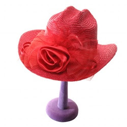 red-flowered hat