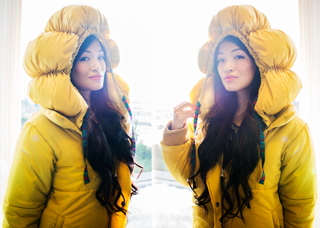 Vancouver fashion blogger Jasmine Zhu wearing Mercibeaucoup yellow space coat