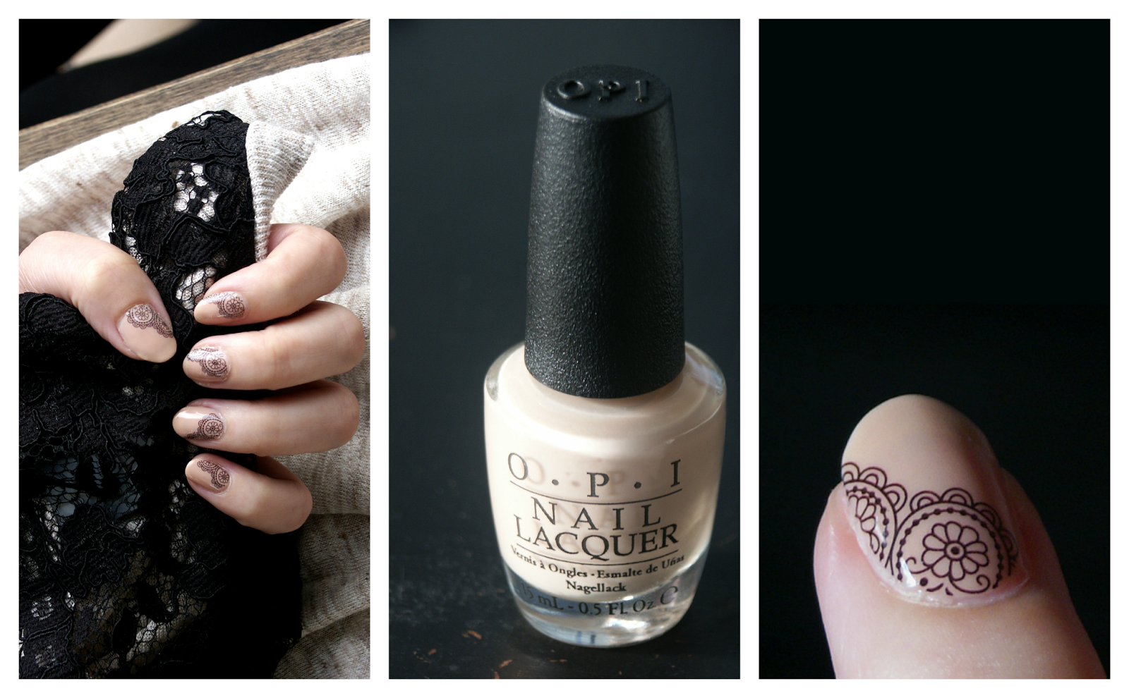 Nude, black Lace Nails
