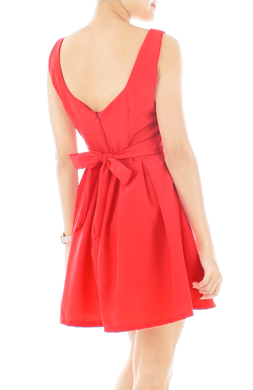 Summer Crush Tie-back Flare Dress – Neon Coral