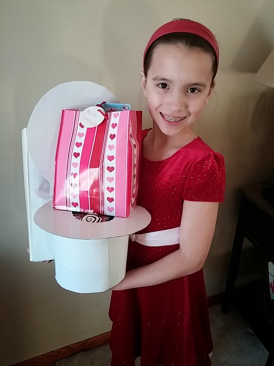 Hereu0027s Our Girl Posing With Her Toilet Bowl Valentine Box And Her Prize!