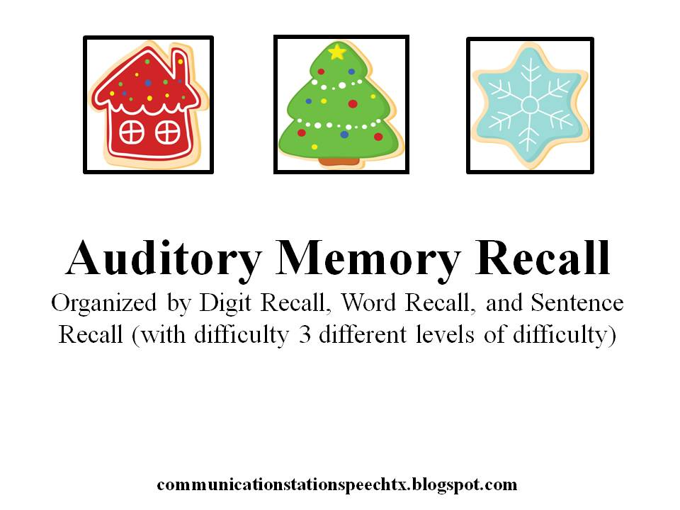 Worksheet Auditory Memory Worksheets communication station speech therapy pllc a perfect processing christmas auditory memory recall