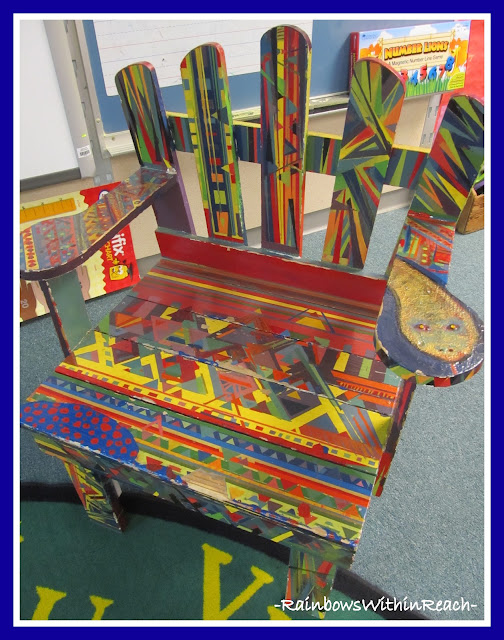 photo of: Author's Chair in Kindergarten Classroom (Reading Center RoundUP via RainbowsWithinReach)