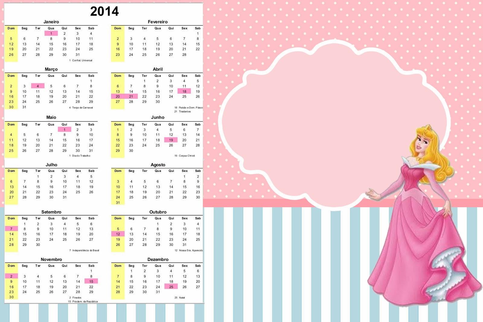 Calendario 2014 para Fiestas de Bella Durmiente.