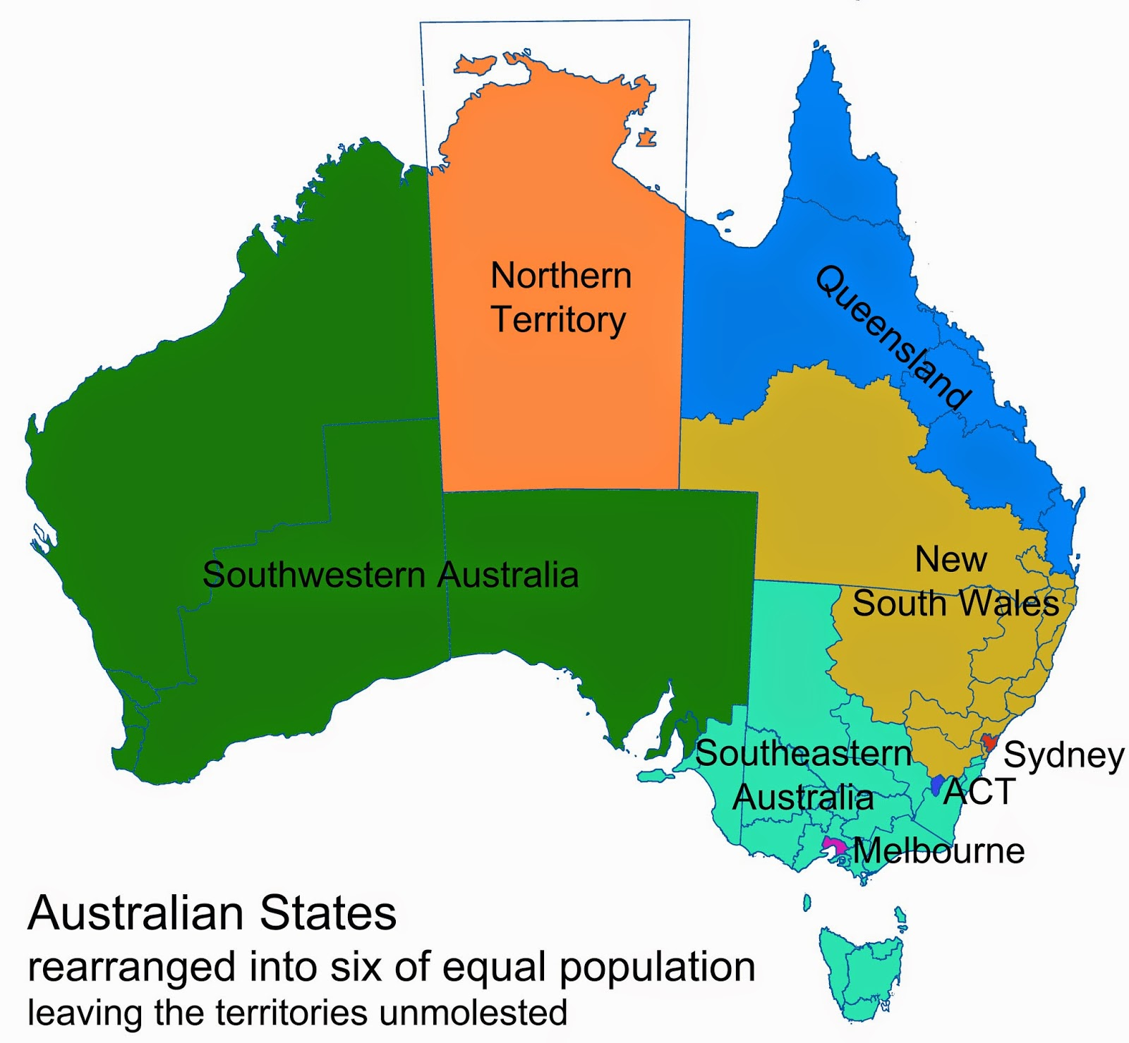 so i did the more logical thing and divided australia into six states of equal population with the aid of the australian electoral commission s map of