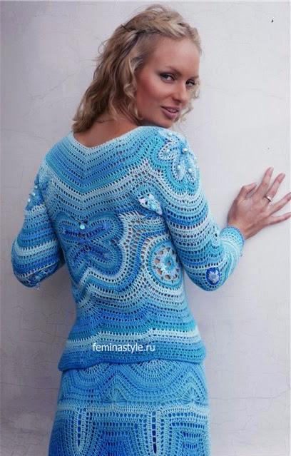 Falda con blusa corta o mangas largas al crochet | Crochet y Dos ...