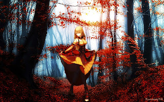 Forest Tree Leafs Blonde Hair Beautiful Girl Anime HD Wallpaper Desktop PC Background 1943
