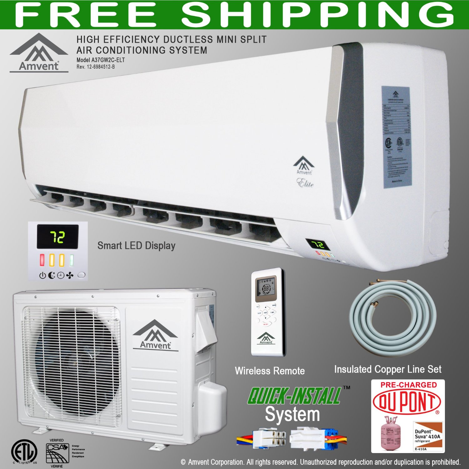 Ductless Wall Mount Mini Split Room Air Conditioner AC Conditioning  #1A8612