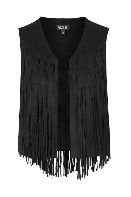 black suede tassel waistcoat