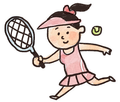 テニスをしている女性のイラスト