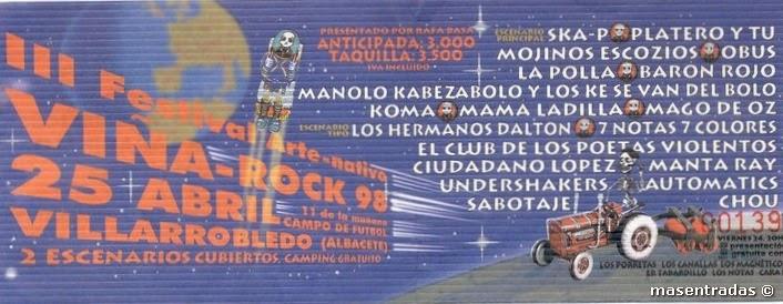 entrada de concierto del viñarock 98
