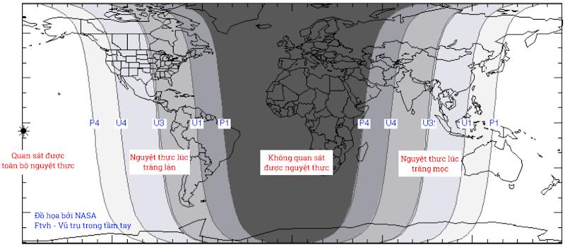 Ngày và đêm vào lúc xảy ra nguyệt thực ngày 4/4/2015. Việt Nam sẽ quan sát được nguyệt thực lúc trăng mọc. Đồ họa : NASA.