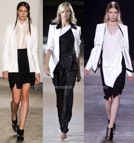 бяло сако в съчетание с черна пола, панталон или черно-бяла рокля