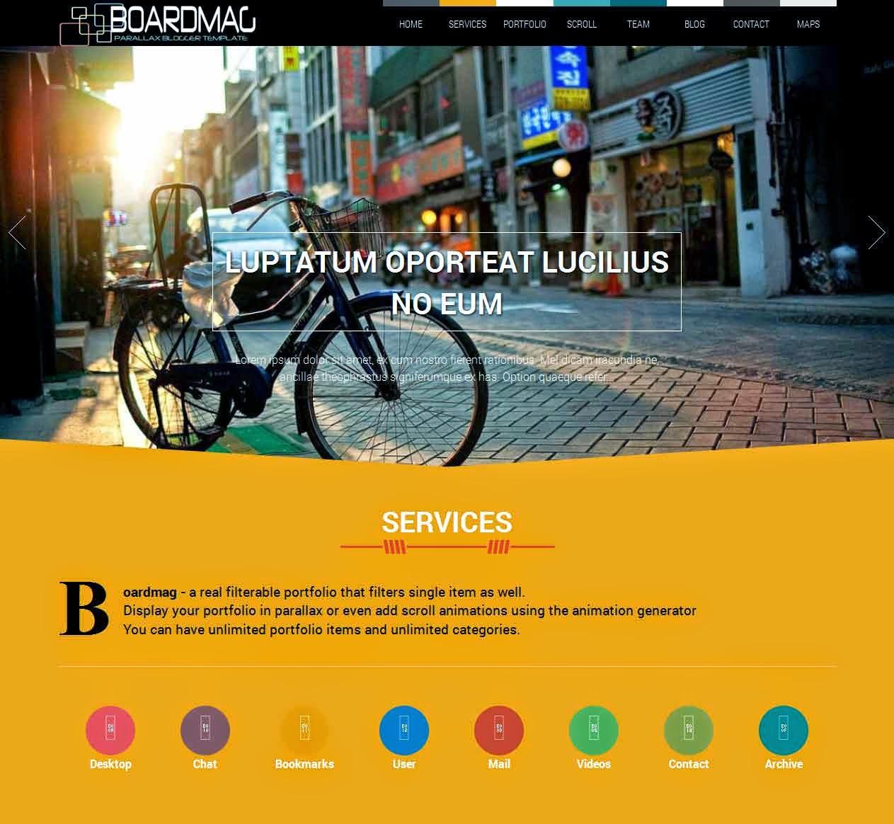 BoardMag Parallax One Page Portfolio Blogger Template | BTemplates Hive