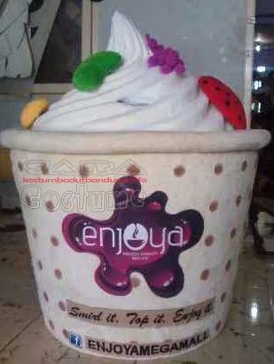 topeng dan badan kostum yoghurt maskot ice cream