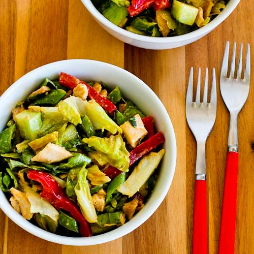 Spicy Chicken Salad with Sugar Snap Peas, Cucumber, Red Bell Pepper, and Basil