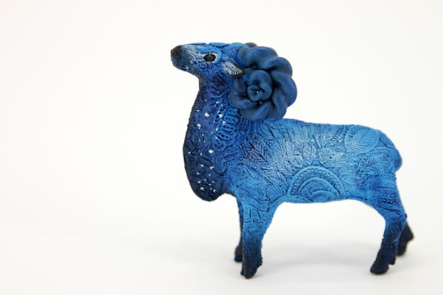 Fantasy animal sculpture made of velvet clay