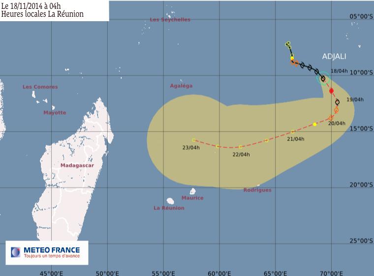 Forte tempête tropicale Adjali le point du 18/11/2014 à 6h00