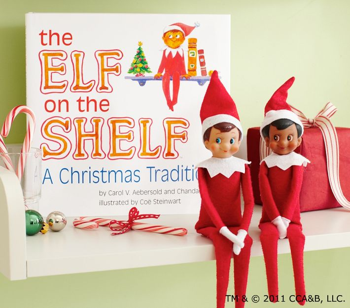 The elf on the shelf book is a holiday book that uses playful rhymes